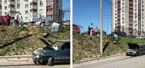 Авария в Волгограде взлетела ВАЗ 2114