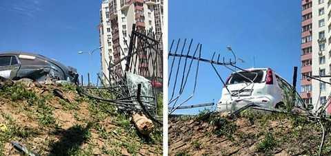 Авария в Волгограде взлетел автомобиль ВАЗ 2114