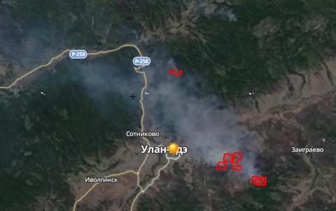 Лесные пожары около Улан-Удэ