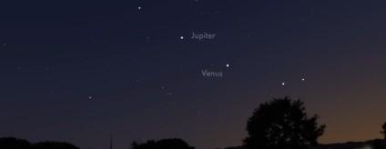 Сближение Венеры и Юпитера с 30 июня по 2 июля