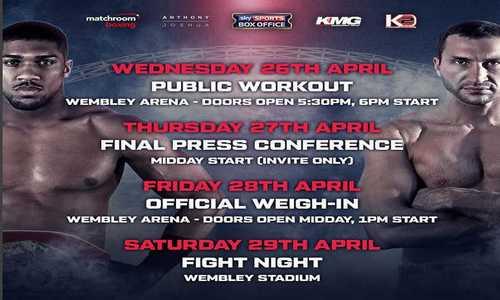 Бой Кличко-Джошуа 29 апреля в Лондоне завершился победой британца техническим нокаутом