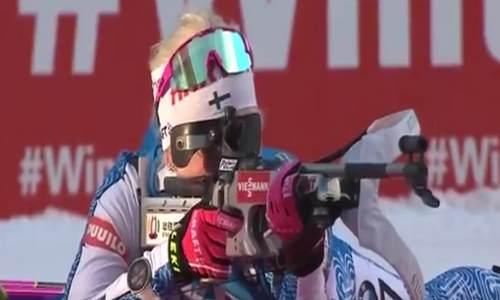 финская биатлонистка Кайса Мякяряйнен, спринт,Поклюка