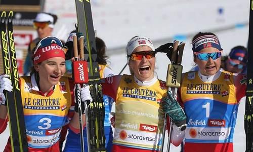 призеры женского скиатлона на ЧМ 2019 по лыжным гонкам