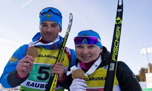 российские биатлонисты Евгения Павлова и Дмитрий Малышко