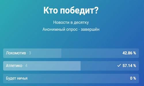 Локомотив-Атлетико, результаты опроса