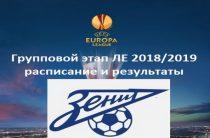 Расписание и результаты матчей «Зенита» в групповом этапе Лиги Европы 2018/2019