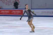 Российская фигуристка Анна Щербакова лидирует после короткой программы у женщин на 4-м этапе Гран-при 2019
