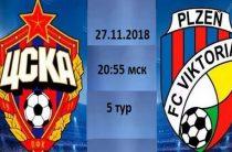Московский ЦСКА 27 ноября примет чешскую «Викторию» в матче 5-го тура группового этапа Лиги чемпионов 2018/2019