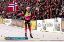 Норвежский биатлонист Йоханнес Бё завоевал золото в масс-старте 24 марта, одержав третью победу на 9-м этапе КМ 2018/2019