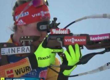 Немка Денизе Херрман выиграла женскую индивидуальную гонку 24 января на 6-м этапе КМ по биатлону 2019/2020 в Поклюке
