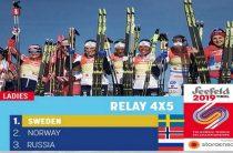 Российские лыжницы завоевали бронзу в эстафете на чемпионате мира 2019 в Австрии