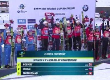 Женская сборная России завоевала серебро в эстафете 14 декабря на 2-м этапе Кубка мира 2019/2020 по биатлону