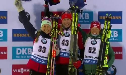 призеры женского спринта ЧМ 2019 по биатлону
