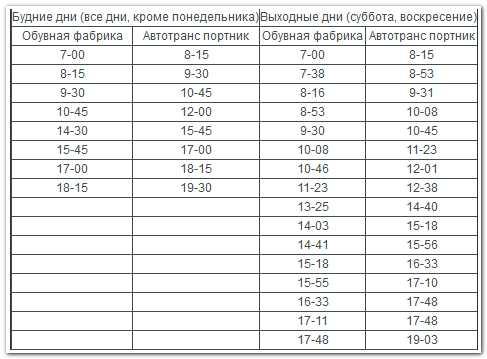расписание автобуса 50