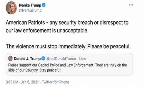 Иванка Трамп удаляет свой твит о мятежниках