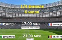 Два первых четвертьфинала ЧМ 2018 по футболу Уругвай-Франция и Бразилия-Бельгия пройдут 6 июля