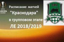 «Краснодар» в групповом этапе Лиги Европы 2018/2019. Расписание и результаты матчей